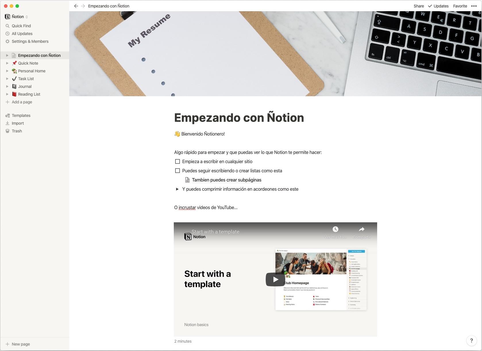 Captura de Notion en Mac